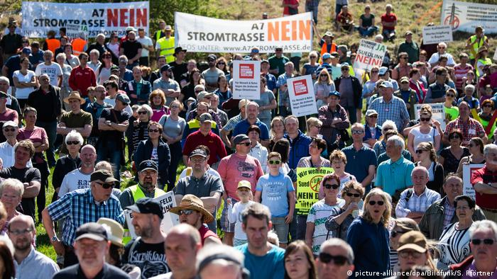 Protesters rallied against the energy cable in Lauchröden