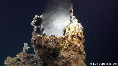 Natural chimneys stick up from the seafloor at Pescadero Basin (ROV SuBastian/SOI)
