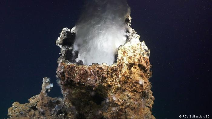 Natural chimneys stick up from the seafloor at Pescadero Basin (ROV SuBastian/SOI)
