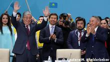 23.04.2019 Kazakhstan's President Kassym-Jomart Tokayev and former President Nursultan Nazarbayev attend a congress of the Nur Otan ruling party in Nur-Sultan, Kazakhstan, April 23, 2019. REUTERS/Mukhtar Kholdorbekov