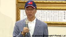 In this image made from video, Terry Gou, the head of the world's largest electronics supplier, Foxconn, speaks during a press conference at the Nationalist Party's headquarters in Taipei, Wednesday, April 17, 2019. Gou said Wednesday he plans to run for president of Taiwan, bringing his pro-business and pro-China policies to what is expected to be a crowded field for next year's election. (AP Photo/Johnson Lai)