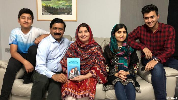 Malala Yousafzai with her family