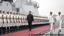 Chinese President Xi Jinping aboard the Chinese destroyer Xining