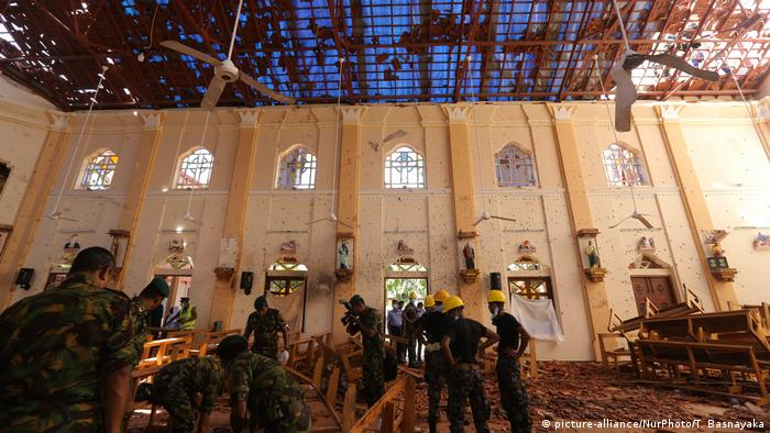 Sri Lanka Negombo Zerstörte St. Sebastian Kirche nach Anschlag (picture-alliance/NurPhoto/T. Basnayaka)