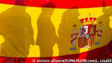 June 3, 2018 - Madrid, Spain - Demonstrators showing the flag of Spain during the VOX rally in Plaza Colón |