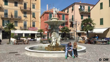 17.04.2019 The main square in Vado Ligure on a Wednesday morning