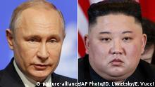 Kombibild - Vladimir Putin und Kim Jong Un