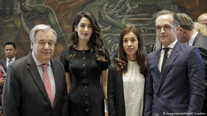 UN Secretary General Antonio Guterres, human rights lawyer Amal Clooney, Nobel Peace Prize laureate Nadia Murad and German Foreign Minister Heiko Maas