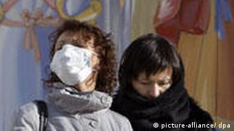 People wearing face masks in Ukraine