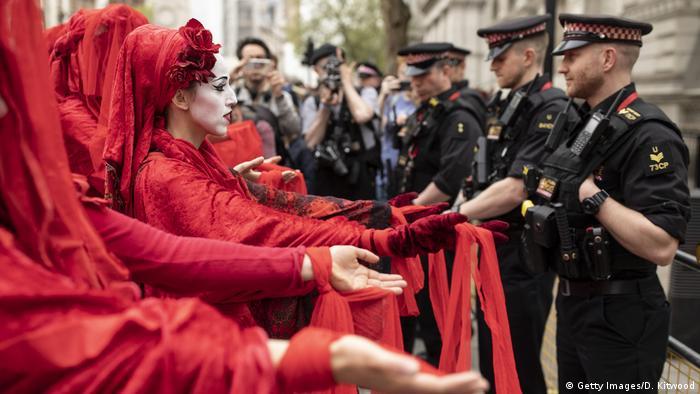 Protesta de Extintion Rebellion en Londres.