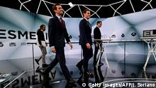 (L-R) Spanish far-left Podemos party leader Pablo Iglesias, conservative Popular Party (PP) leader Pablo Casado, centre-right Ciudadanos (Citizens) leader Albert Rivera and Prime Minister and PSOE candidate Pedro Sanchez arrive to the set before a televised debate in Madrid on April 23, 2019 ahead of this weekend's general election. (Photo by JAVIER SORIANO / AFP) (Photo credit should read JAVIER SORIANO/AFP/Getty Images)