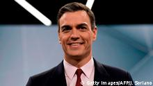 Spanish Prime Minister and PSOE candidate Pedro Sanchez smiles before a televised debate with fellow main candidates in Madrid on April 23, 2019 ahead of this weekend's general election. (Photo by JAVIER SORIANO / AFP) (Photo credit should read JAVIER SORIANO/AFP/Getty Images)