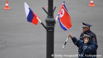 Σημαίες των δύο χωρών στους δρόμους του Βλαδιβοστόκ