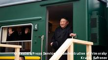 North Korean leader Kim Jong Un disembarks from a train during a welcoming ceremony at a railway station in the far eastern settlement of Khasan, Russia April 24, 2019. Press Service of Administration of Primorsky Krai/Alexander Safronov/Handout via REUTERS ATTENTION EDITORS - THIS IMAGE WAS PROVIDED BY A THIRD PARTY. NO RESALES. NO ARCHIVES.