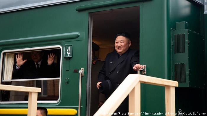 North Korean leader Kim Jong Un disembarks from a train during a welcoming ceremony at a railway station in the far eastern settlement of Khasan, Russia April 24, 2019