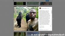 Screenshot Instagram - Selfie mit Gorilla (Instagram/virunganationalpark)