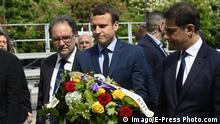 Frankreich 2017 Paris | Gedenken an Völkermord an ArmeniernEmmanuel Macron commemorates the Armenian genocide 102nd anniversary at the Komitas memorial in Pari (Imago/E-Press Photo.com)