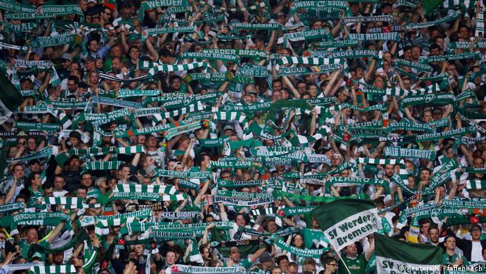 Werder Bremen supporters in the Weser-Stadion at German Cup semifinal between Bremen and Bayern Munich, 24.04.2019.