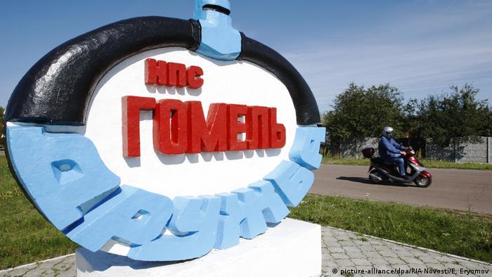 The logo of the Druzhba oil pipeline outside the city of Gomel