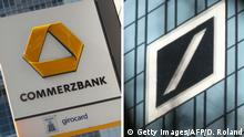 (COMBO) This combination of file pictures taken in Frankfurt am Main, western Germany, and created on January 17, 2019 shows (L) the logo of German bank Commerzbank at the company's headquarters on April 28, 2015 and the logo of German company Deutsche Bank at its headquarters on February 2, 2018. - Speculations intensify about a merger of Germany's two largest banks, both grappling with painful restructurings after years of falling profits. (Photos by Daniel ROLAND / AFP) (Photo credit should read DANIEL ROLAND/AFP/Getty Images)