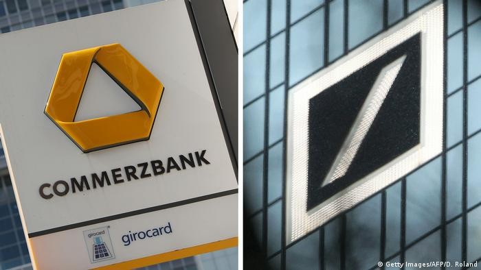 Kombibild - Commerzbank Deutsche Bank in Frankfurt (Getty Images/AFP/D. Roland)