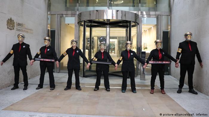 London Proteste der Extinction Rebellion vor Börse