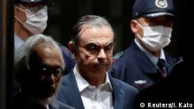 Former Nissan Motor boss Carlos Ghosn leaving the Tokyo Detention House in Japan (Reuters/I. Kato)