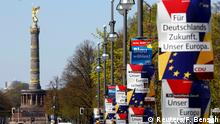 15.04.2019 *** Election campaign posters of Germany's conservative Christian Democratic Union (CDU) party and Christian Social Union (CSU) party for the upcoming European Parliament elections, depicting also Manfred Weber, top candidate of the European People's Party (EPP), are pictured in Berlin, Germany April 15, 2019. The posters read For Germany's future, our Europe and Our Europe creates prosperity REUTERS/Fabrizio Bensch