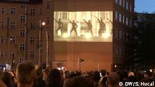 Rammstein fans gathered on Torstrasse in central Berlin for the premiere of a new single and its music video projected on a building. 25.04.2019