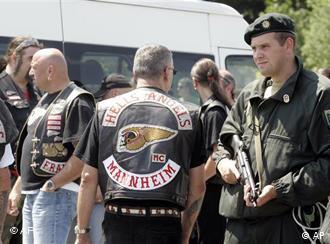 Hells Angels members and police