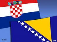 Staatsflagge von Kroatien (li. oben) und Bosnien-Herzegowina (re. unten) auf hellblauem Hintergrund. Symbolbild (Foto: DW)