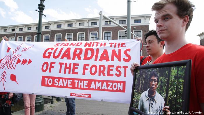 Demonstrators anger at Amazon deforestation