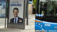 21.04.2019 A campaign poster with the picture of presidential candidate for Spanish People's Party (PP), Pablo Casado in Madrid on April 21, 2019 ahead of the April 28 general elections. - Spain's ruling Socialists would win the most seats in this month's election without obtaining a majority -- but could govern without the support of Catalan separatists, according to a poll (Photo by Oscar Gonzalez/NurPhoto) | Keine Weitergabe an Wiederverkäufer.