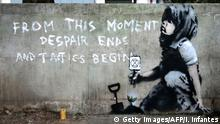 Mutmaßliches Banksy am Marble Arch in London