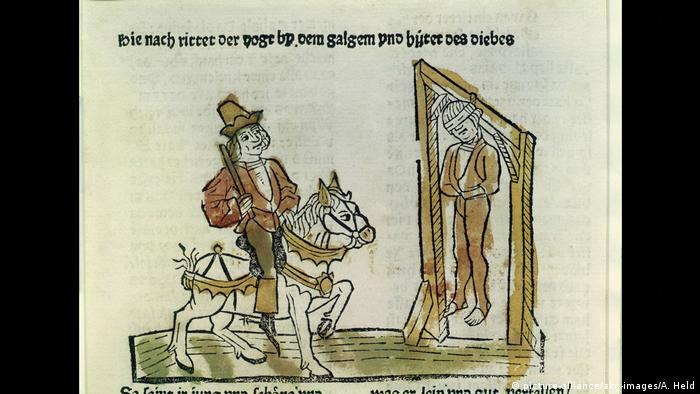 Dibujo de un hombre colgado y otro sobre un caballo.