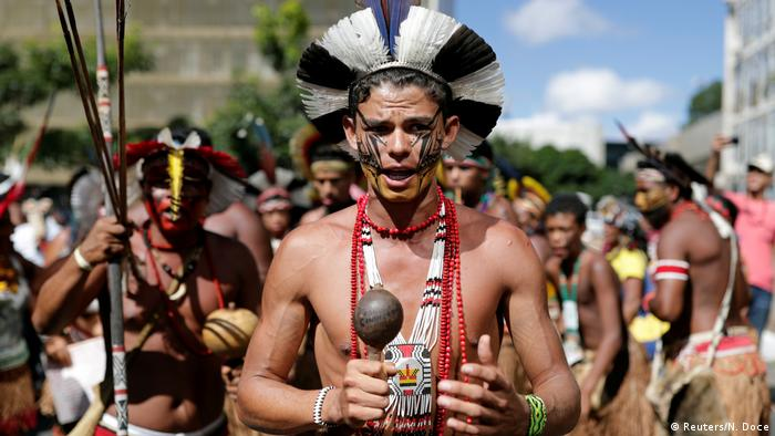 People from Brazil's 305 ethnic communities protesting in Brasilia
