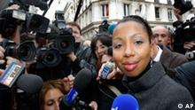 Novelist Marie NDiaye answers reporters after she won the France's top literary prize, the Goncourt, with her book Trois femmes puissantes, or Three Strong Women, in Paris, Monday, Nov. 2, 2009. Trois femmes puissantes is the story of women fighting to preserve their dignity in the face of humiliations that life has inflicted. (AP Photo/Christophe Ena)