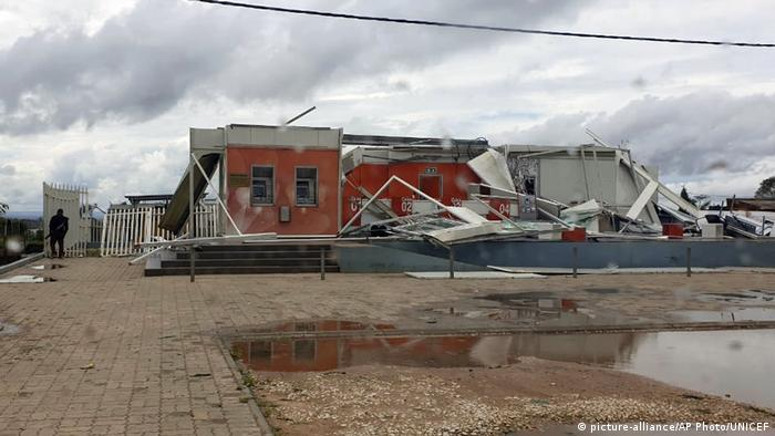 Buildings damaged by Cyclone Kenneth in Pemba, Mozambique