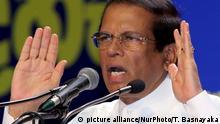 Sri Lankan president Maithripala Sirisena speaks to his supporters at his political party, Sri Lanka Freedom Party's (SLFP) annual convention at Colombo, Sri Lanka. 4-12- 2018 (Photo by Tharaka Basnayaka/NurPhoto) | Keine Weitergabe an Wiederverkäufer.