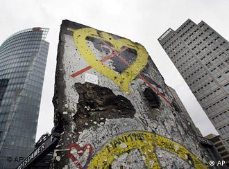 A small piece of the Berlin Wall at Potsdamer Platz in Berlin