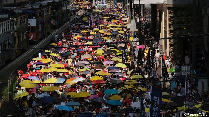 A large protest in Hong Kong against the extradition of Hong Kong residents