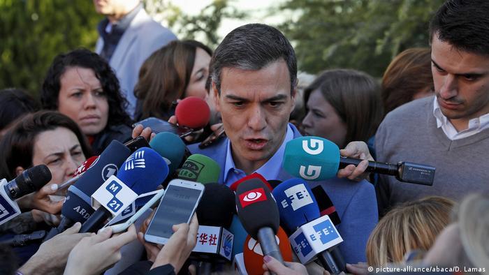 Prime Minister Pedro Sanchez after he cast his vote