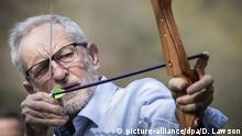 Labour leader Jeremy Corbyn with a bow and arrow