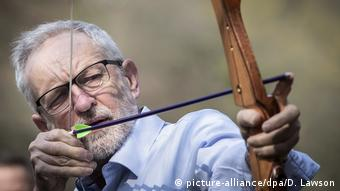 Jermy Corbyn using a bow and arrow