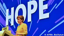 Scotland's First Minister and leader of the Scottish National Party (SNP), Nicola Sturgeon, delivers her keynote speech on the final day of the SNP Spring conference in Edinburgh on April 28, 2019. (Photo by ANDY BUCHANAN / AFP)