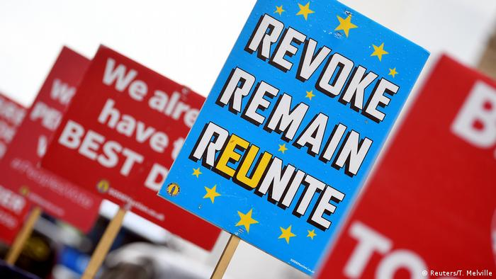 Anti-Brexit placards in London