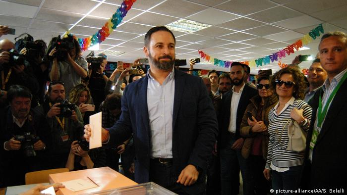 Leader of Vox party Santiago Abascal casts his ballot