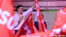 28.04.2019 Spanish Prime Minister Pedro and Socialist Party (PSOE) candidate for prime minister Pedro Sanchez waves during an election night rally in Madrid after Spain held general elections on April 28, 2019. - Spain's socialist prime minister won snap elections on Sunday but without the necessary majority to govern in a fragmented political landscape marked by the far-right's dramatic eruption in parliament. (Photo by JAVIER SORIANO / AFP)