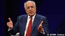 28.04.2019 US special representative for Afghan peace and reconciliation Zalmay Khalilzad gestures as he speaks during a forum talk with Afghan director of TOLO news Lotfullah Najafizada, at the Tolo TV station in Kabul on April 28, 2019. - The United States and Afghanistan stressed the need for intra-Afghan dialogue when US envoy Zalmay Khalilzad and Afghan President Ashraf Ghani held talks on April 27, a palace statement said. (Photo by WAKIL KOHSAR / AFP)