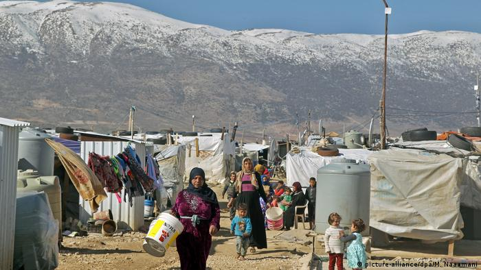 Syrian refugees in Lebanese camp